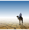 man on a camel going through the desert vector image