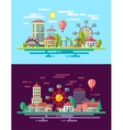 Modern flat design conceptual city with carousels vector image vector image