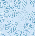 Monstera outlines leaves seamless pattern vector image