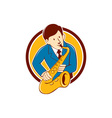Musician Playing Saxophone Circle Cartoon vector image vector image