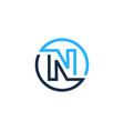 n letter circle line logo icon design vector image