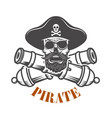 pirates emblem template with cannons and pirate vector image