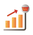 Price hike arrow up in bars infographics