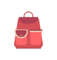 red school backpack in flat style backpack vector image vector image