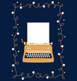 retro styled golden typewriter with blank sheet of vector image vector image