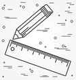 Ruler and pencil thin line design Ruler and pencil