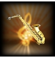 Saxophone on a blurred background treble clef vector image vector image