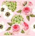 seamless pattern with roses and hydrangea vector image