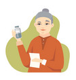senior chinese woman taking medicine - flat design vector image vector image