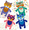 Set of cute cartoon cats vector image vector image