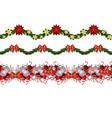 set of n seamless christmas borders vector image