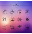 set of three d printer icons vector image