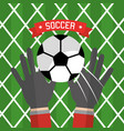 soccer hand goalkeeper gloves ball red vector image