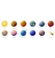solar system planets set moon sun and comet icon vector image