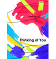 thinking you postcard template vector image