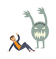 tired businessman overwork deadline monster vector image vector image