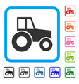 wheeled tractor framed icon vector image vector image