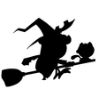 Witch silhouette cartoon vector image vector image