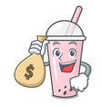 with money bag raspberry bubble tea character vector image vector image