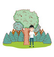 young man in nature cartoon vector image