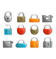 padlock icon set in flat design vector image