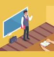 teacher standing near blackboard on grammar lesson vector image