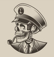 a skull in captains cap vector image