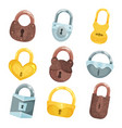 antique old padlocks set bronze golden and vector image