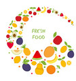 background with cartoon fruit icons background vector image