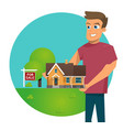 cartoon concept for sale house vector image vector image