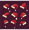 cartoon red santa claus hat collection vector image