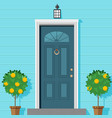 closed front door with a lantern and ornamental vector image vector image