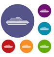 cruise ship icons set vector image vector image