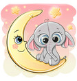 cute cartoon elephant on the moon vector image vector image