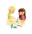 cute little girl and boy sitting on the floor and vector image vector image
