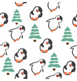 cute penguin cartoon seamless pattern vector image vector image
