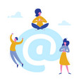 email people characters chatting with phones vector image vector image