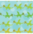 Funny green dragon with wings on blue background vector image vector image