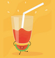 glass with juice watermelon fresh fruit kawaii vector image