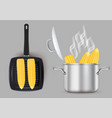 grilled and boiled sweet corn isolated vector image