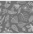 Hand drawn engraving style leaves Seamless pattern