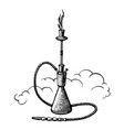 hand-drawn vintage hookah sketch shisha vector image