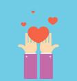 hands with heart volunteering concept banner flat vector image