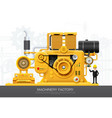 industrial machine engine factory construction vector image