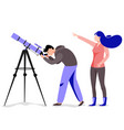 man with telescope in search of a star vector image