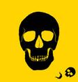 monochrome of skull on yellow vector image vector image
