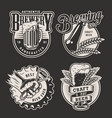monochrome vintage brewery badges vector image vector image