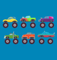 monster truck cars automobiles with big wheels vector image vector image