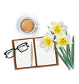 morning coffee notepad and narcissus bouquet vector image