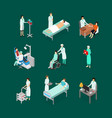 nurses attending patients icons set isometric view vector image
